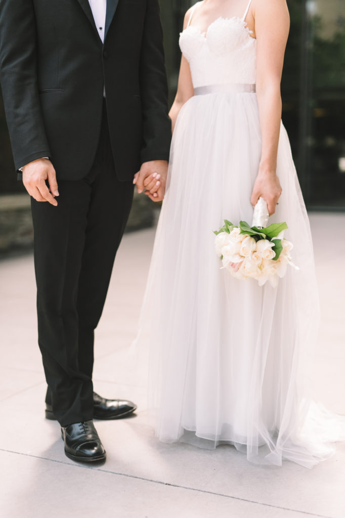 Detail of bride and groom