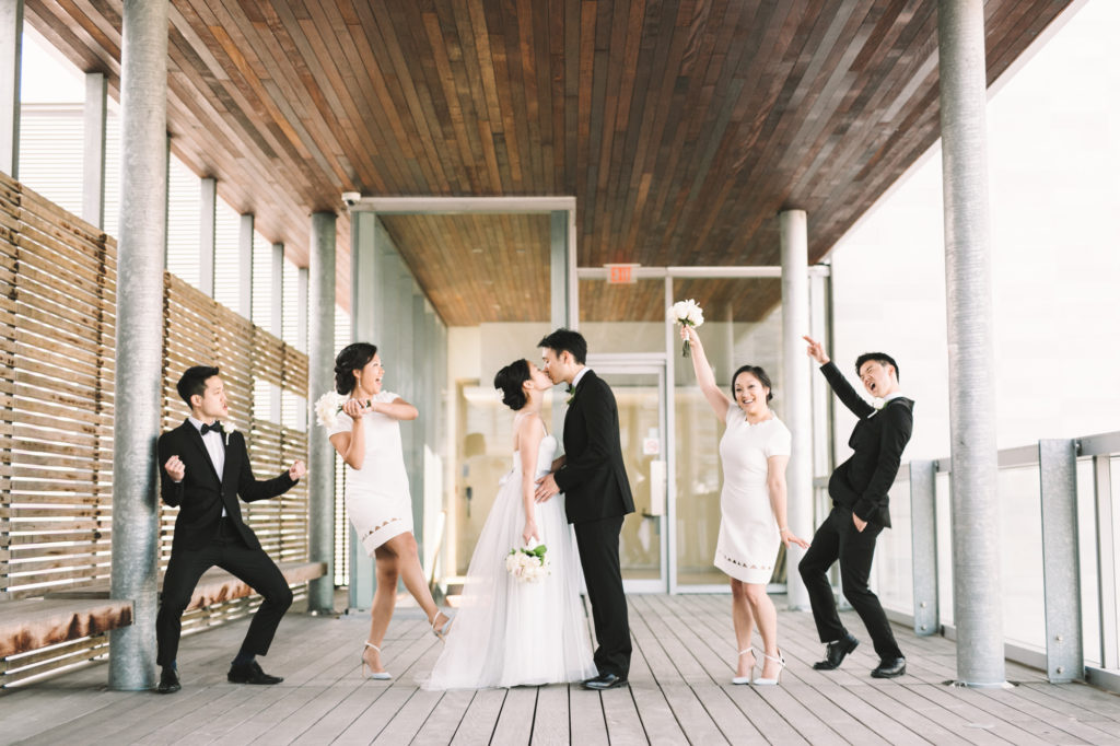 Fun wedding photo of bridal party