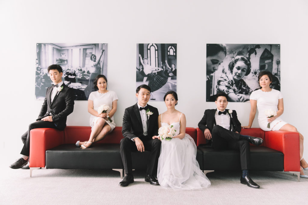 Indoor bridal party portrait
