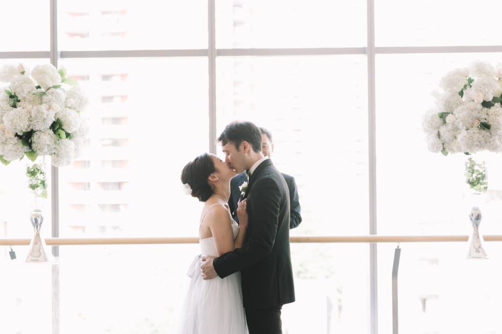 Bride and groom's first ceremony kiss