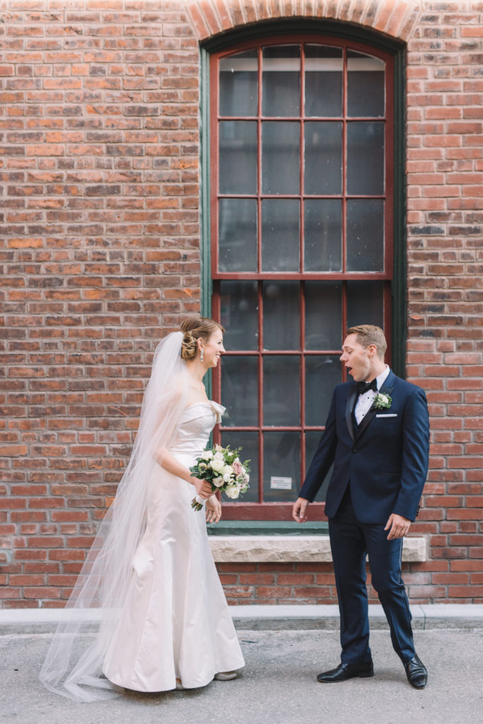 Groom's reaction to bride during first look