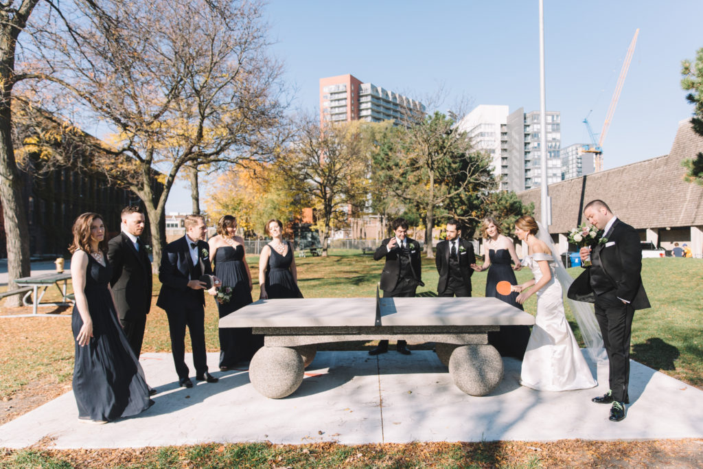 Bridal party playing ping pong in Toronto