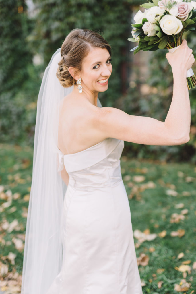 Bride showing off her muscles