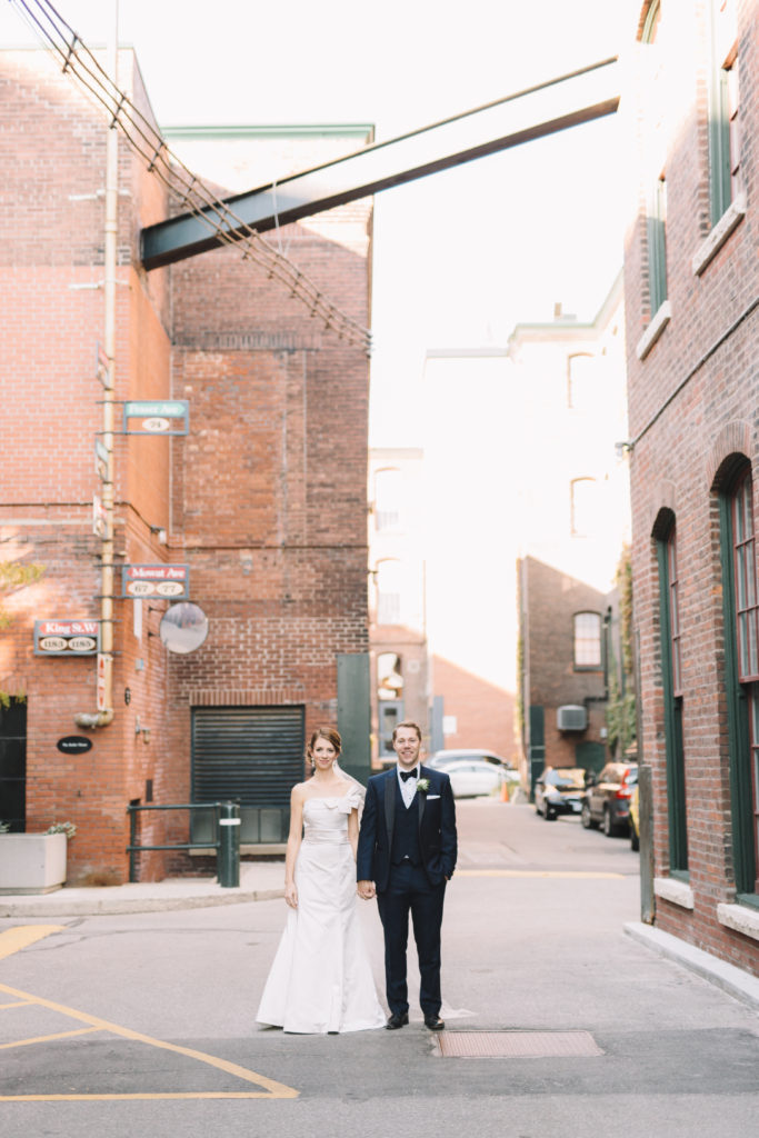 Bride and groom portraits in Liberty Village