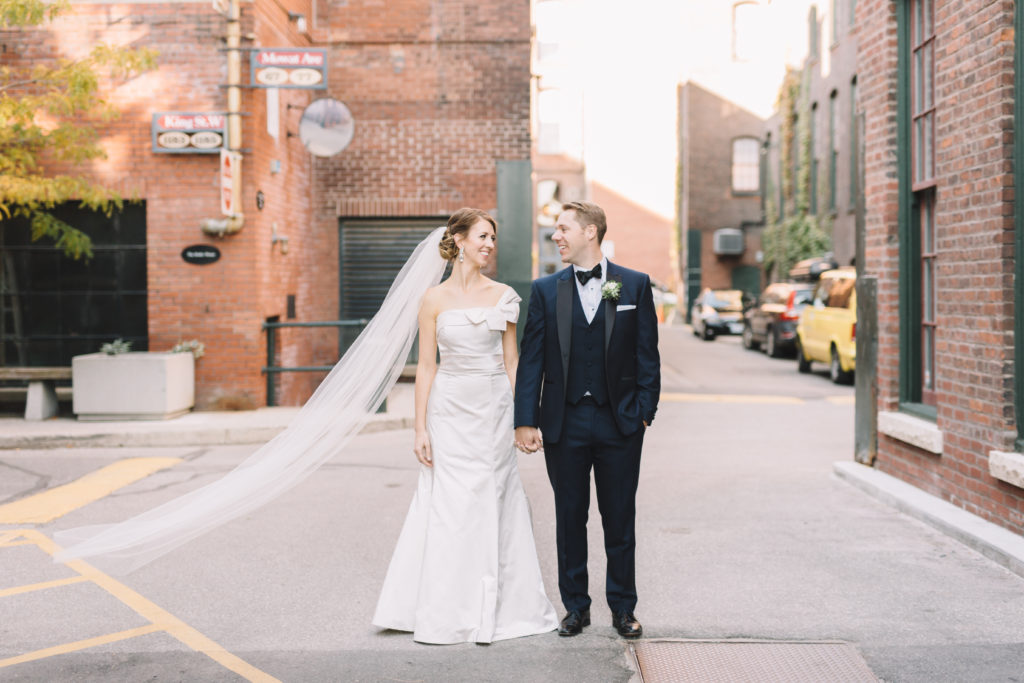 Bride and groom in Liberty Village