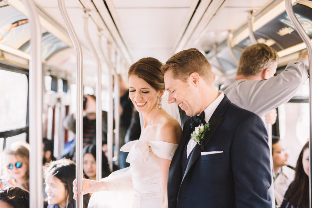 Bride and groom on Toronto Street car