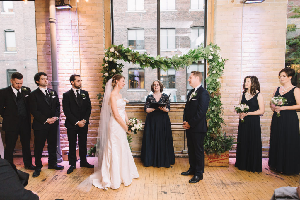 Ceremony photos of bride and groom at 2nd floor events