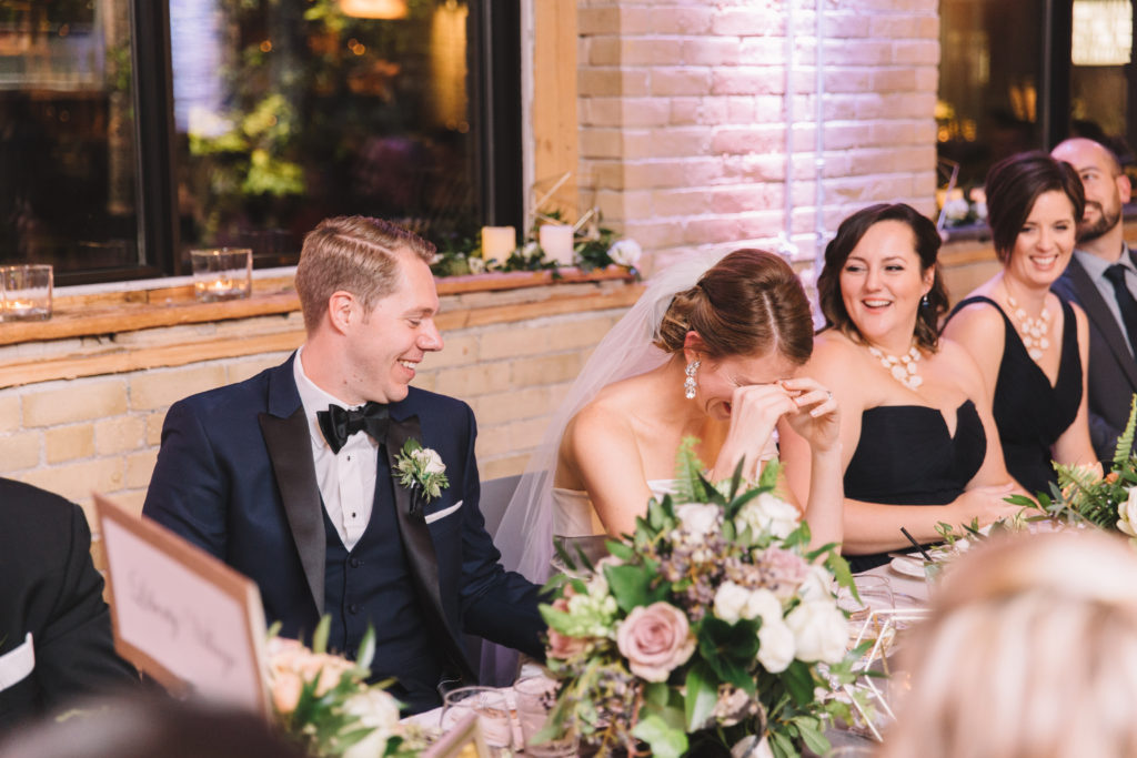 Bride crying during reception at 2nd Floor Events