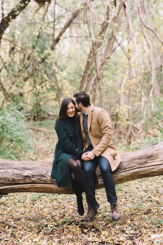 Couple laughing in Mill Pond Forest