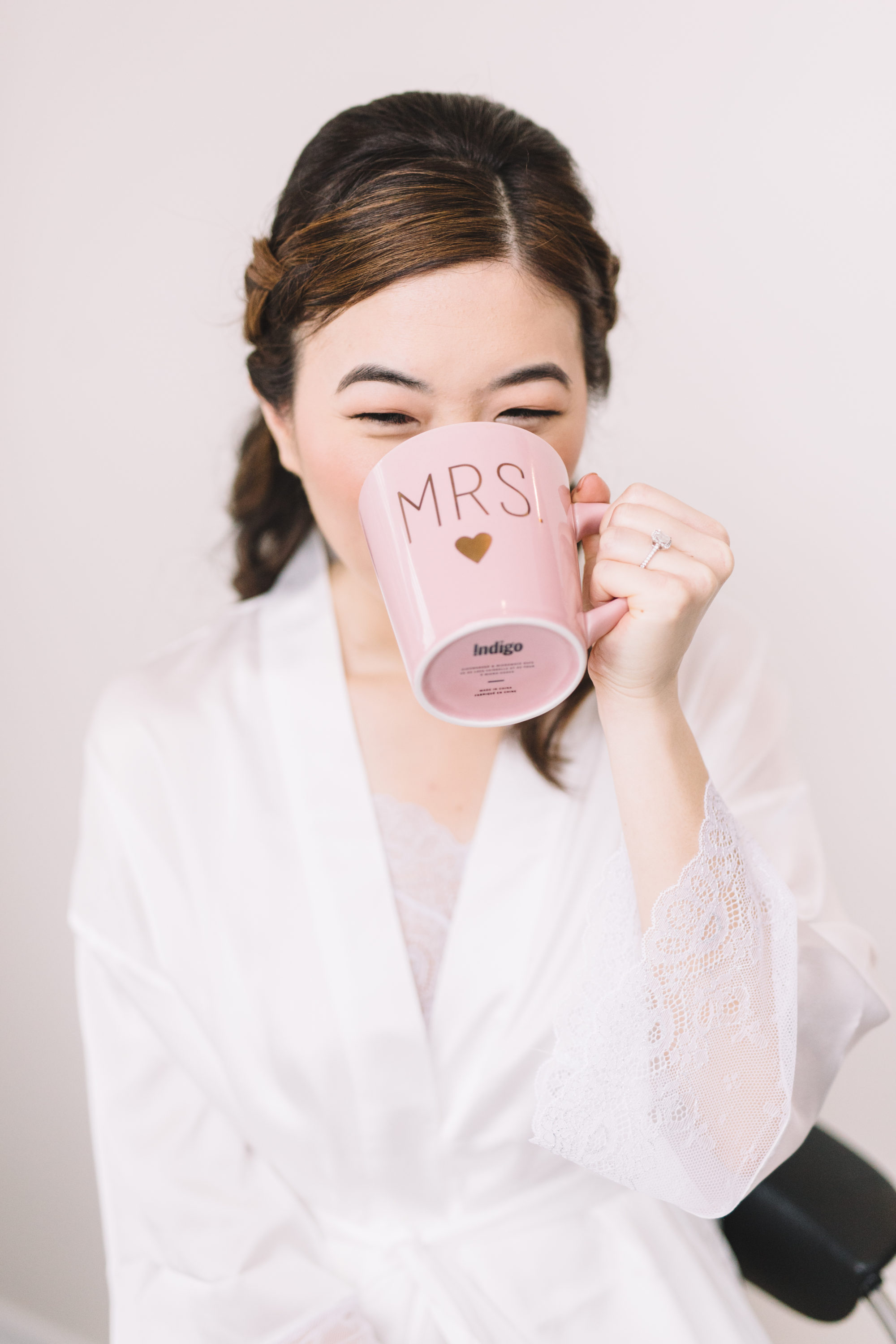 Bride sipping coffee