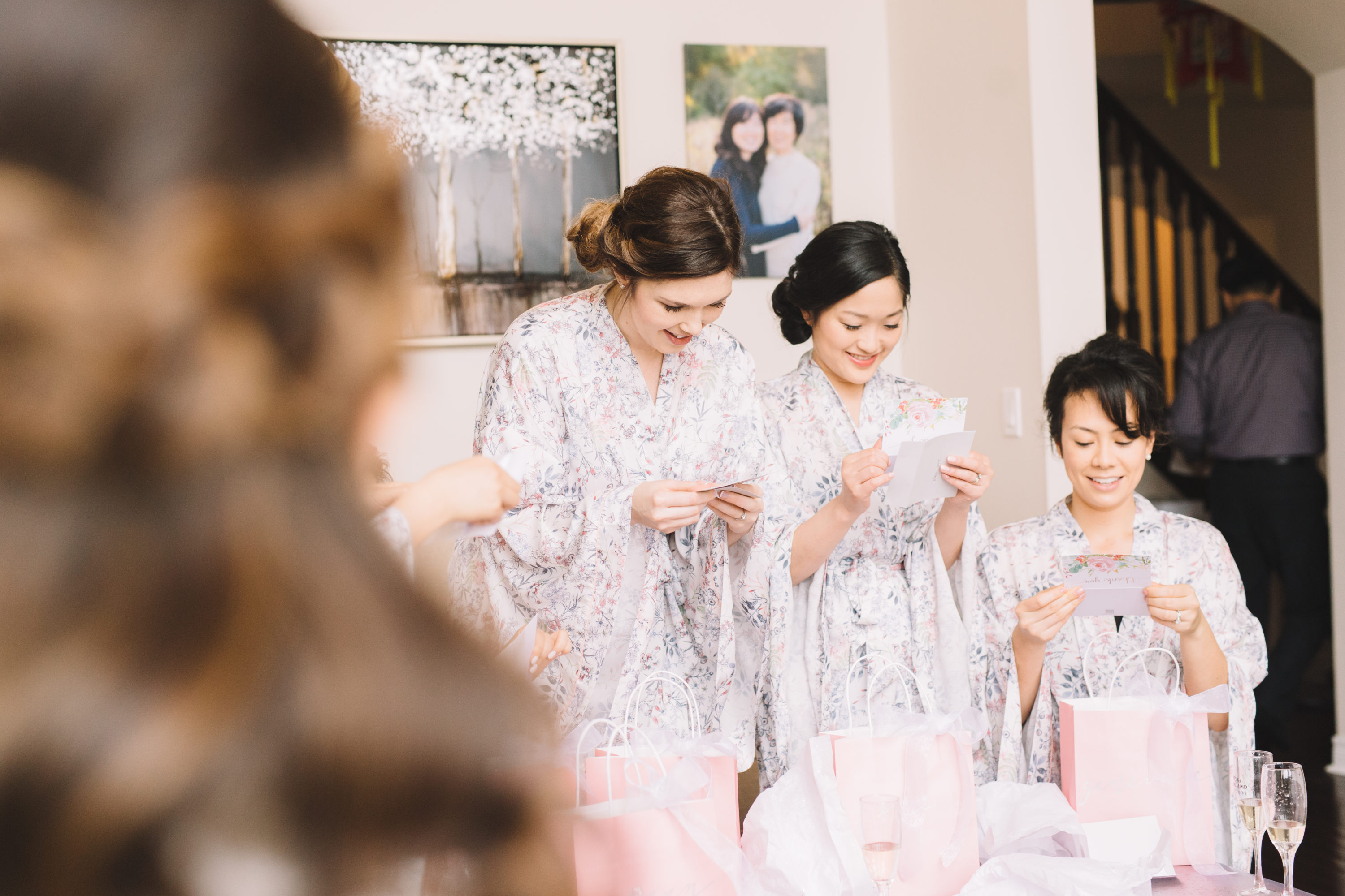 Bridesmaids reading gifts