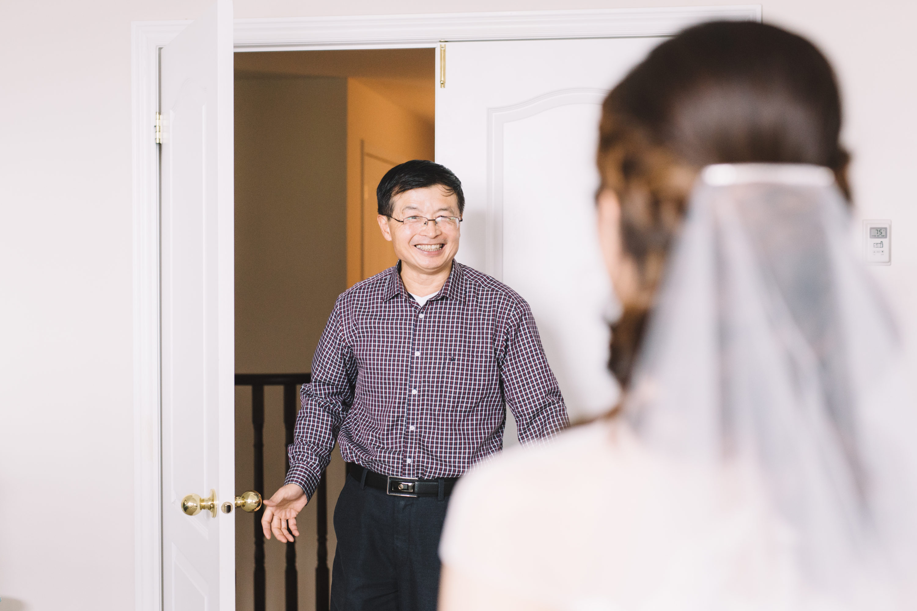 First look with father of the bride