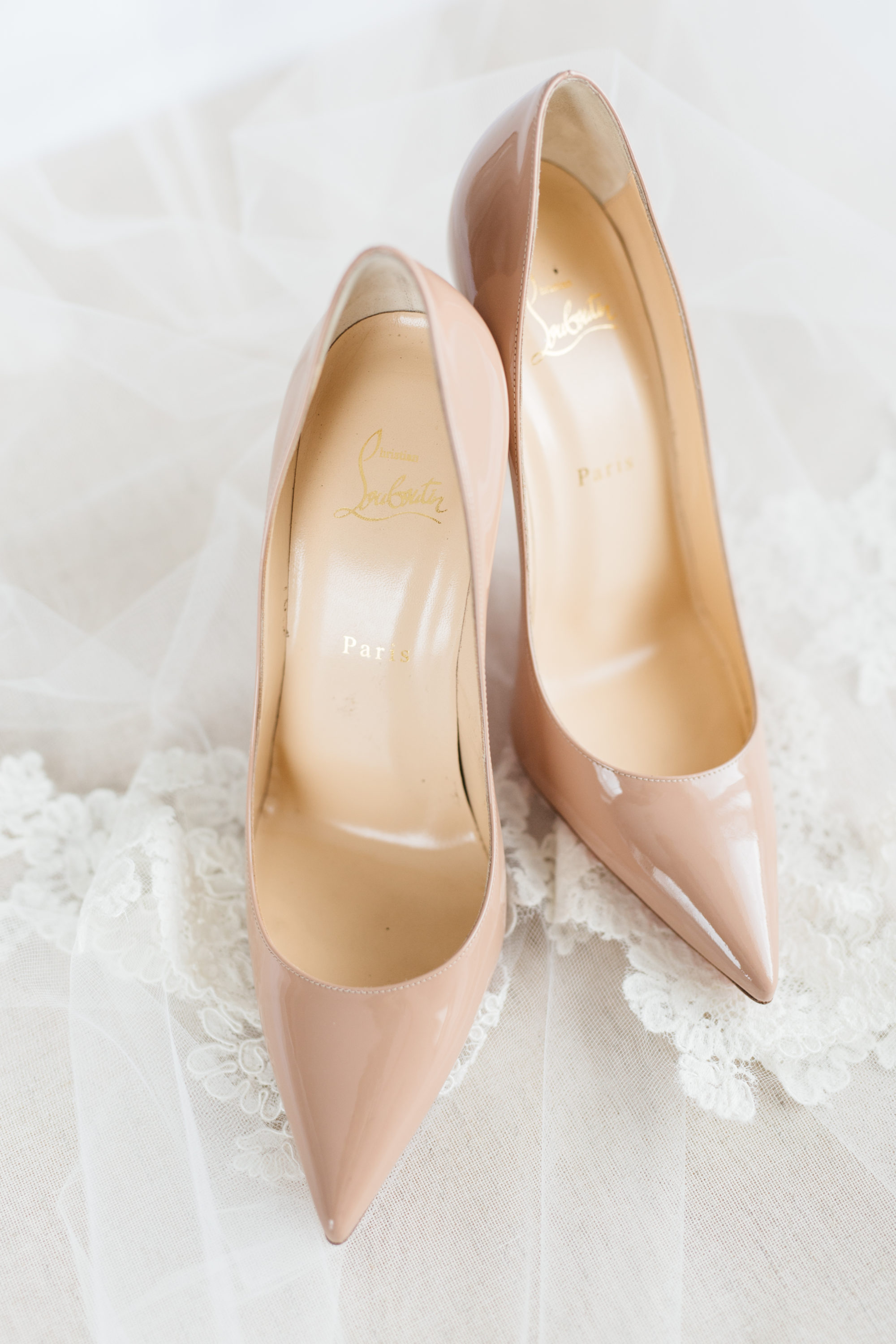 Bride's Louboutin wedding shoes