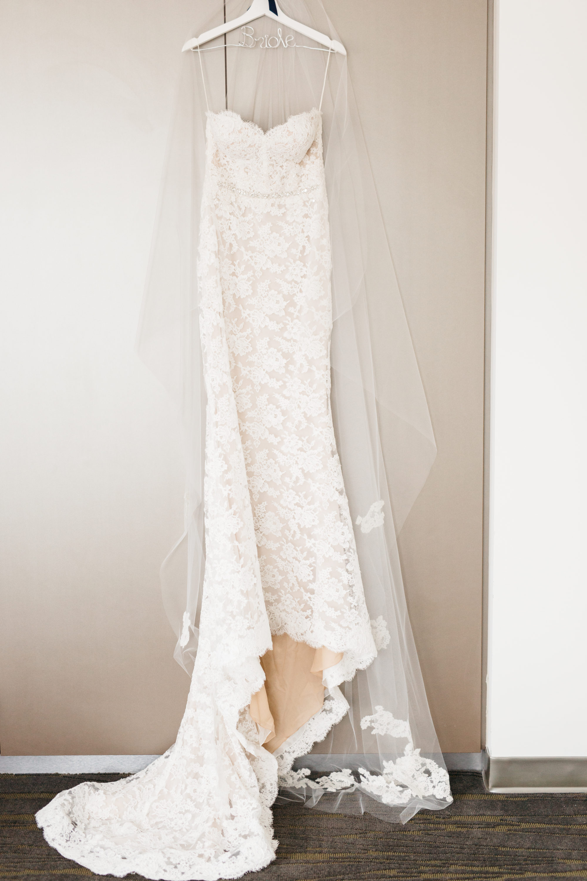 Bride's Reem Acra wedding dress