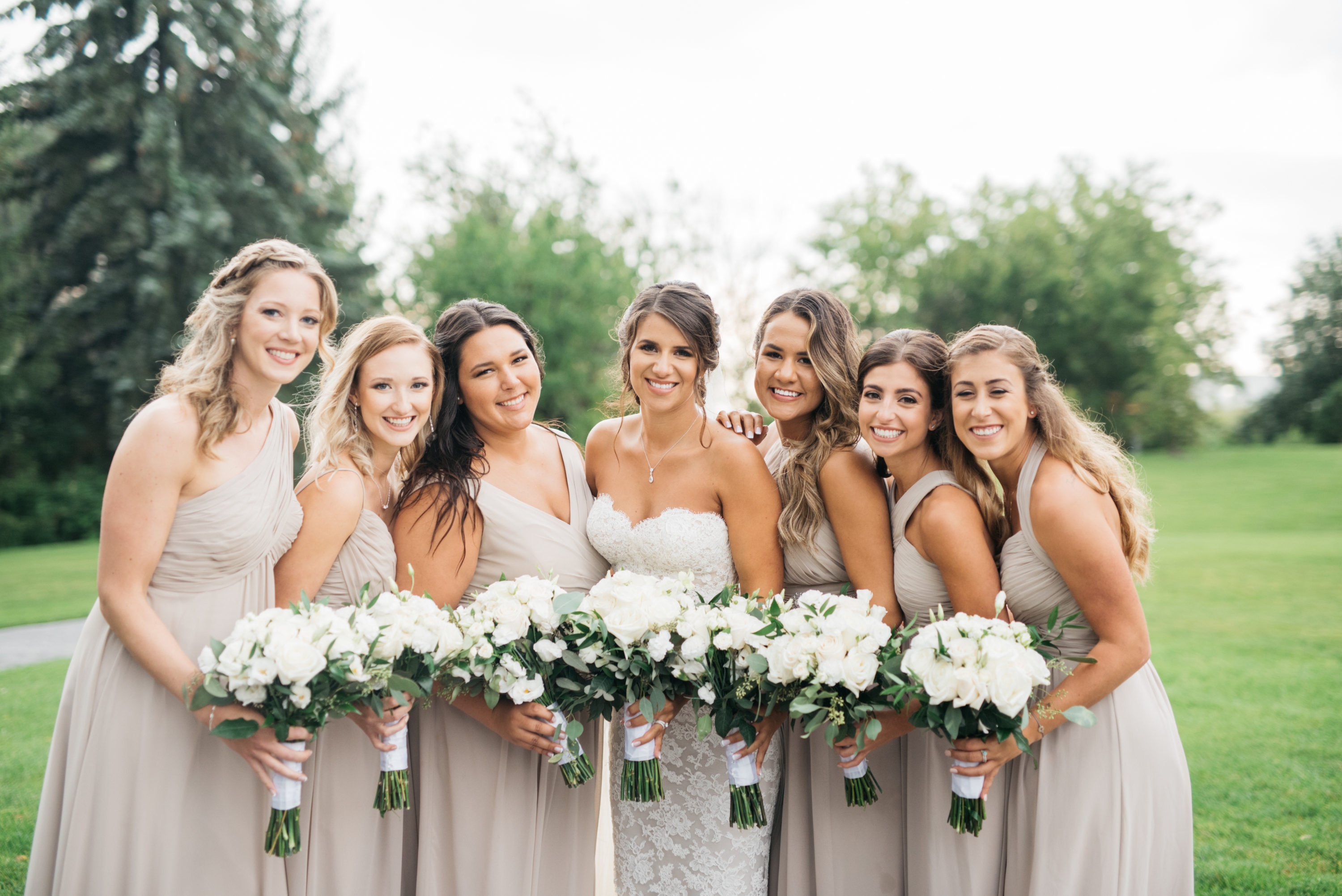 Bride with bridesmaids at The Arlington Estate