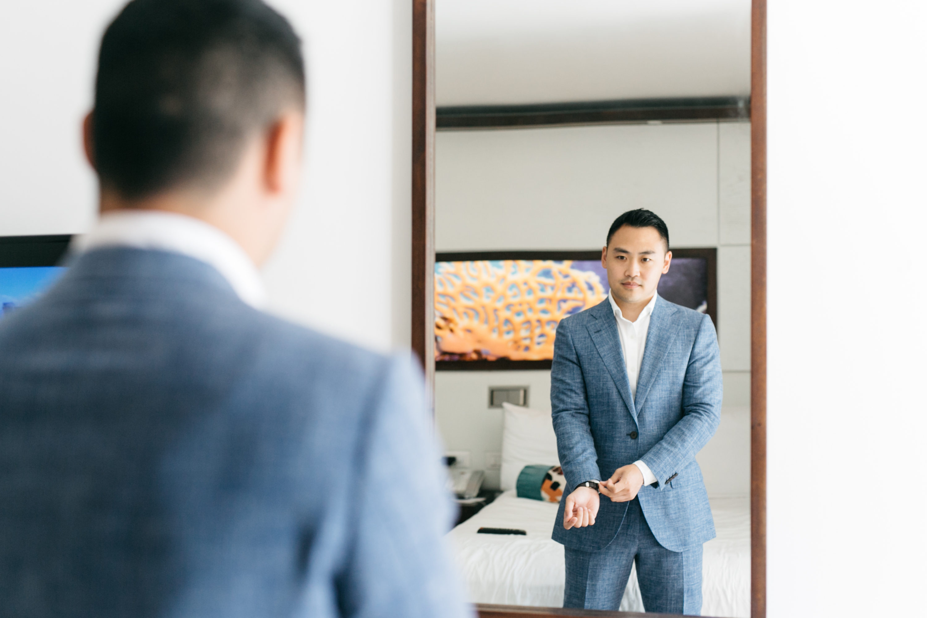 groom getting ready at the Royalton White Sands Resort