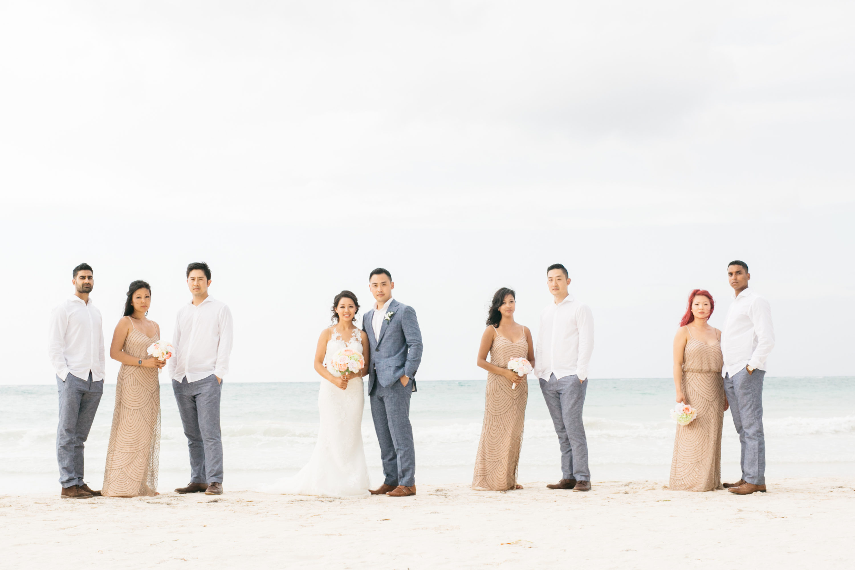 Bridal party portrait at the beach