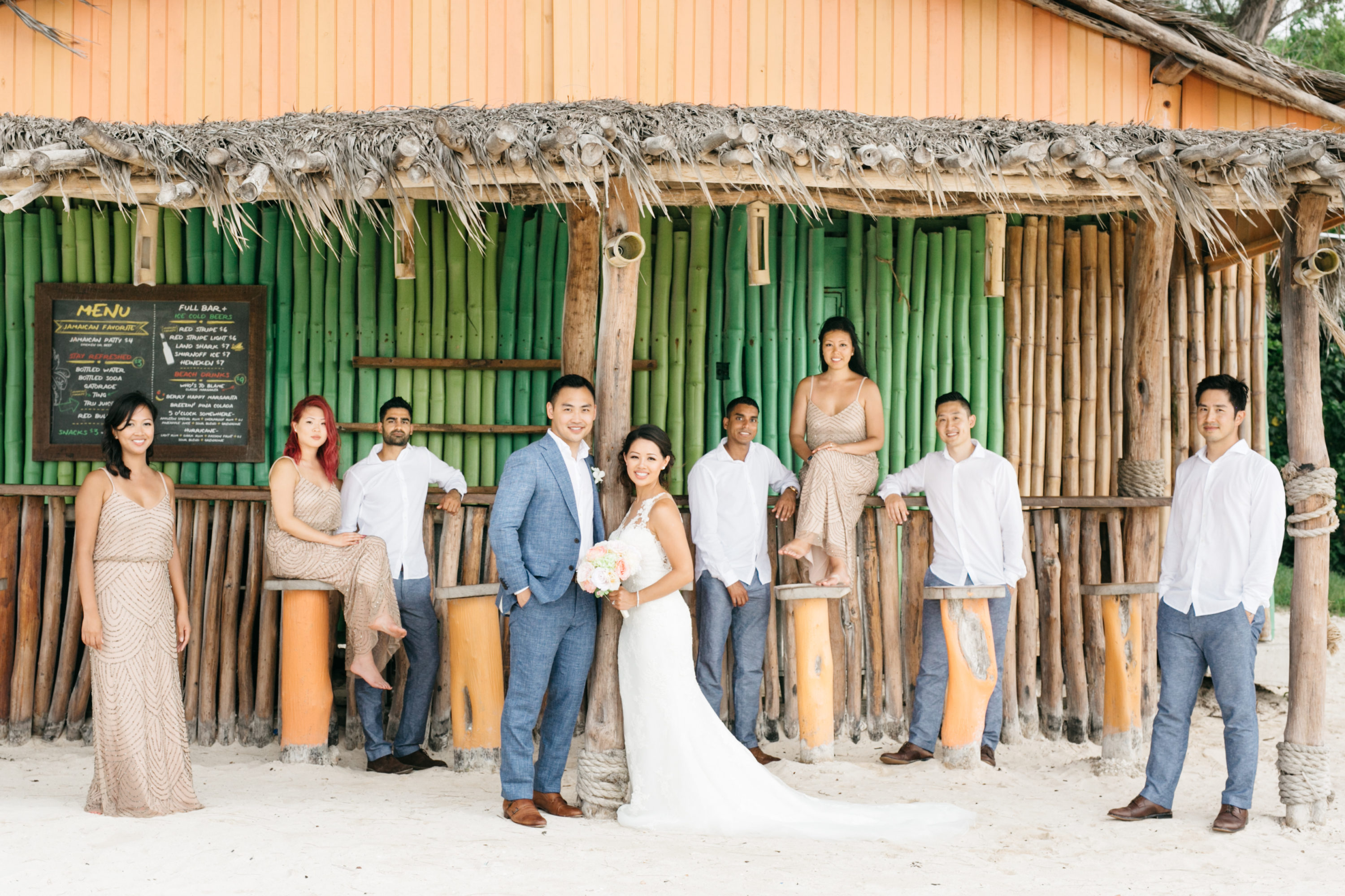Bridal party photo at Royalton White Sands Resort