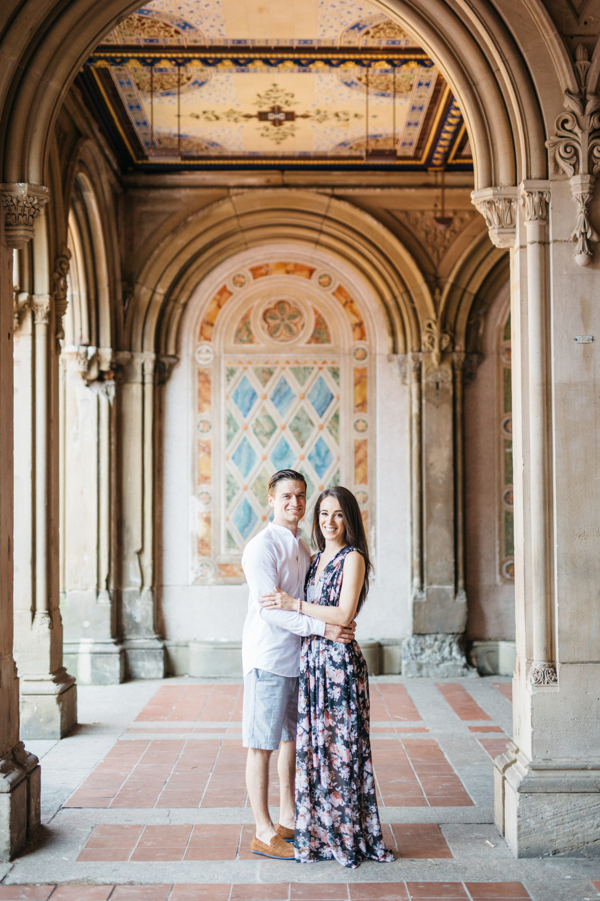 Couple in Bethesda Terrace in Central Park