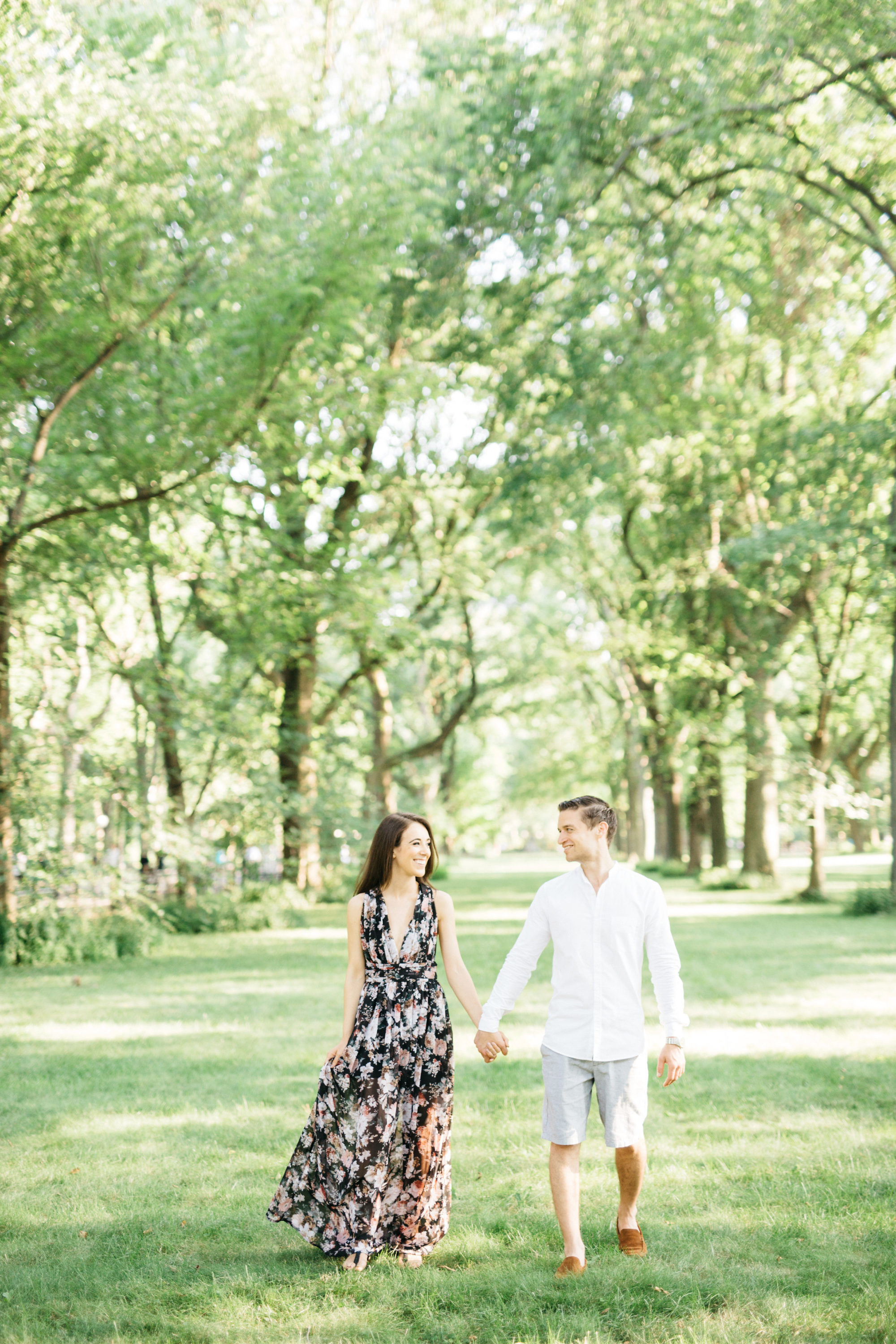 Couple walking in central park