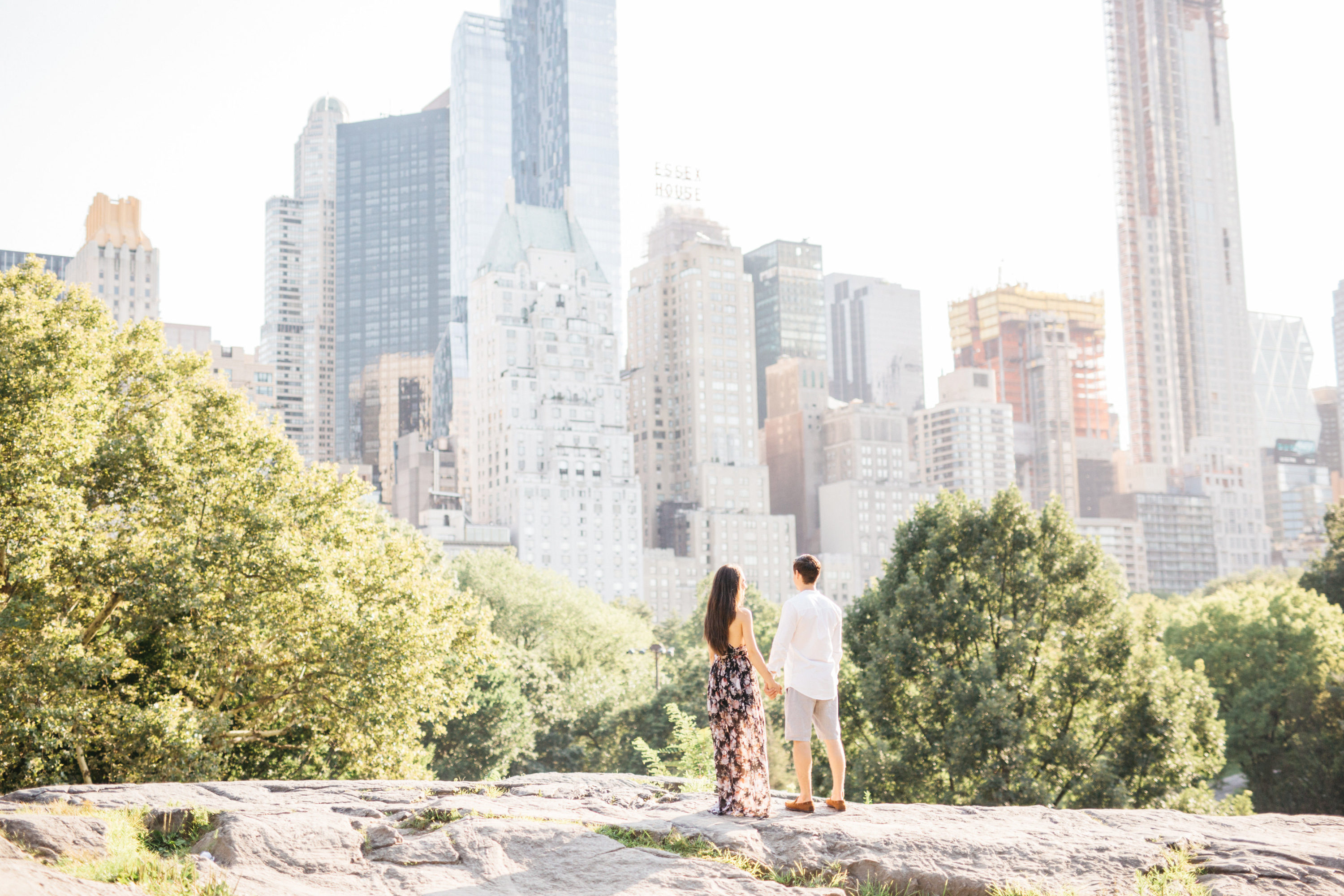 couple looking at city in central park