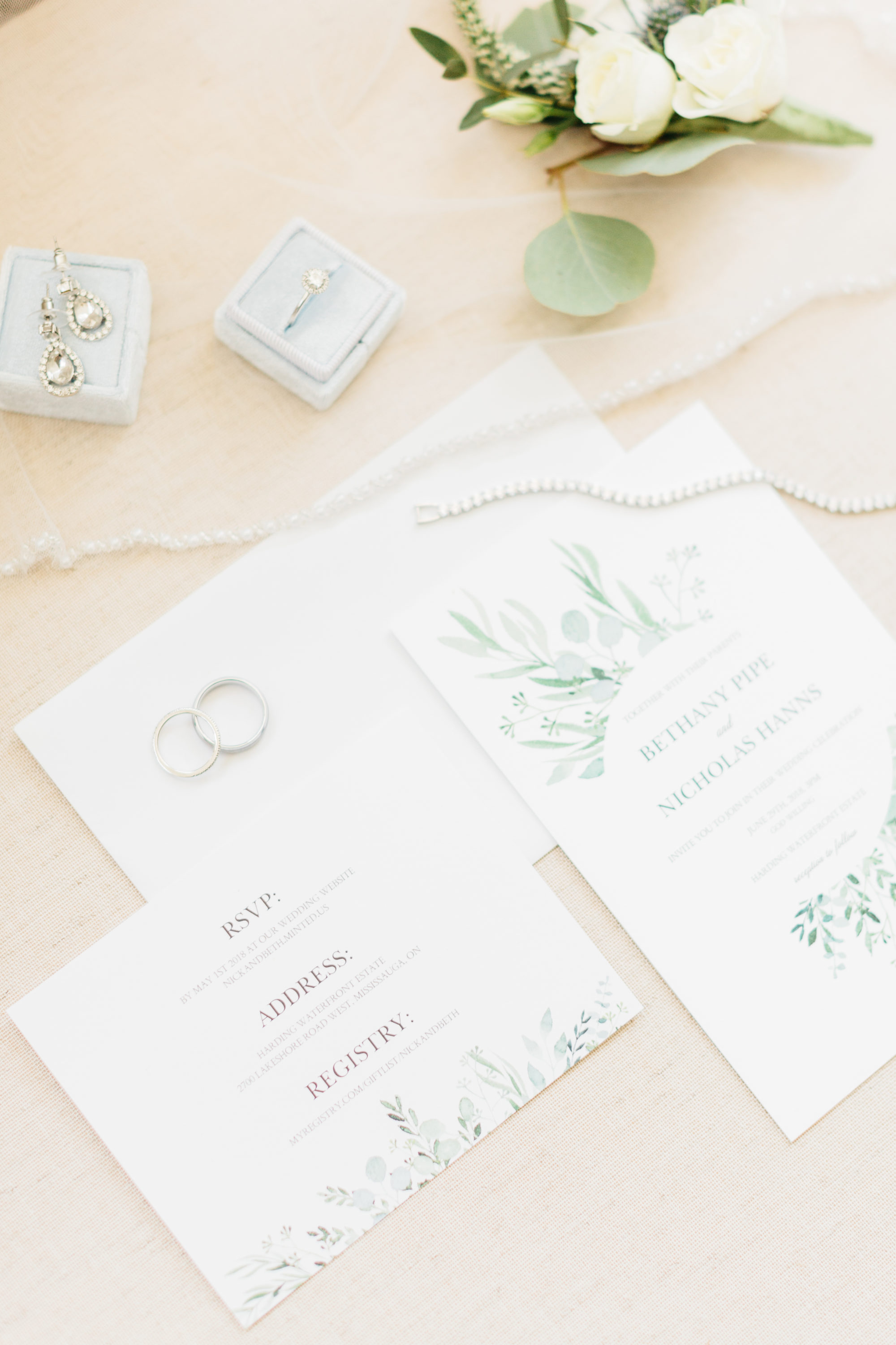 Bride's stationary details