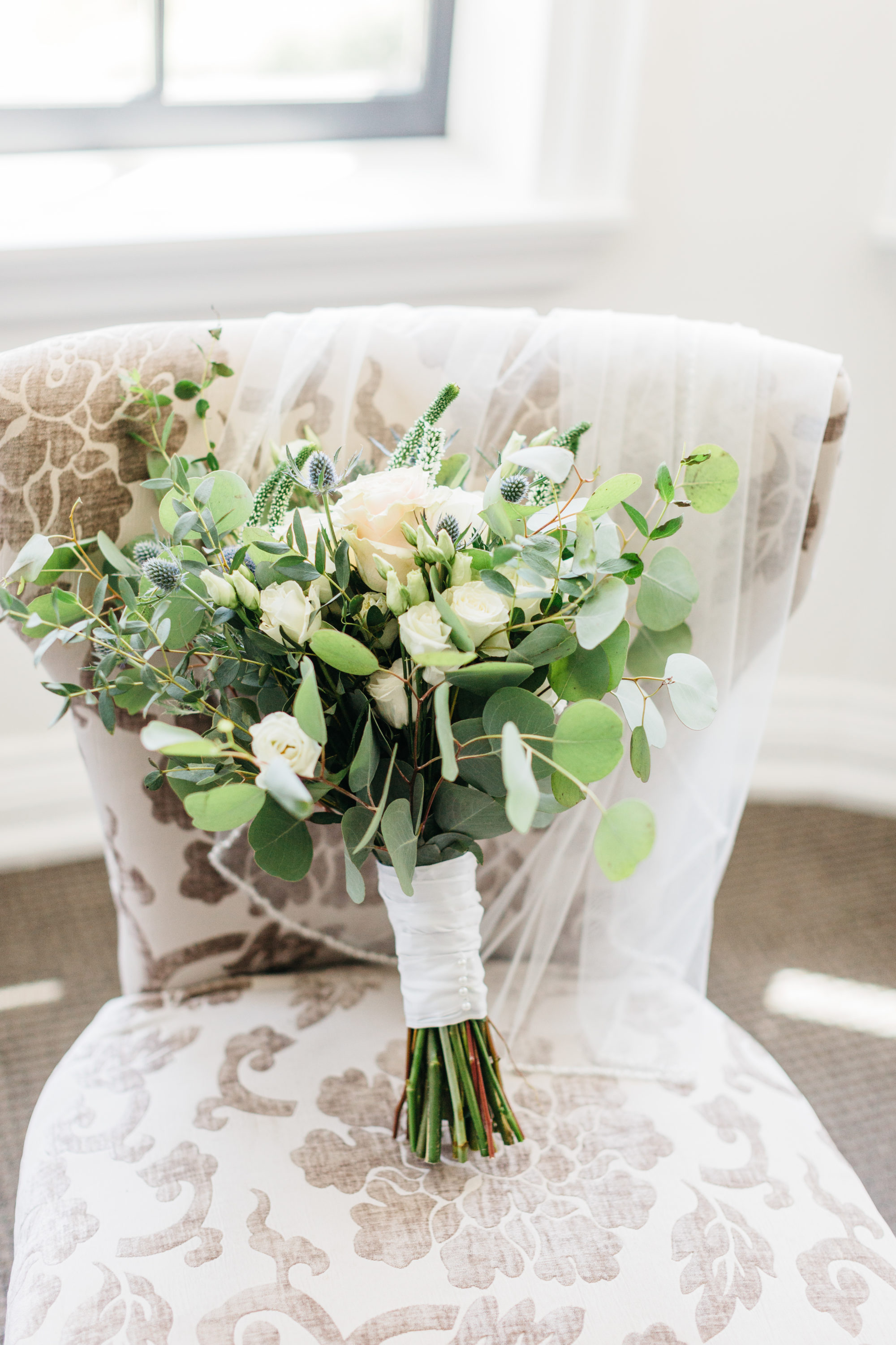 Bride's florals on chair