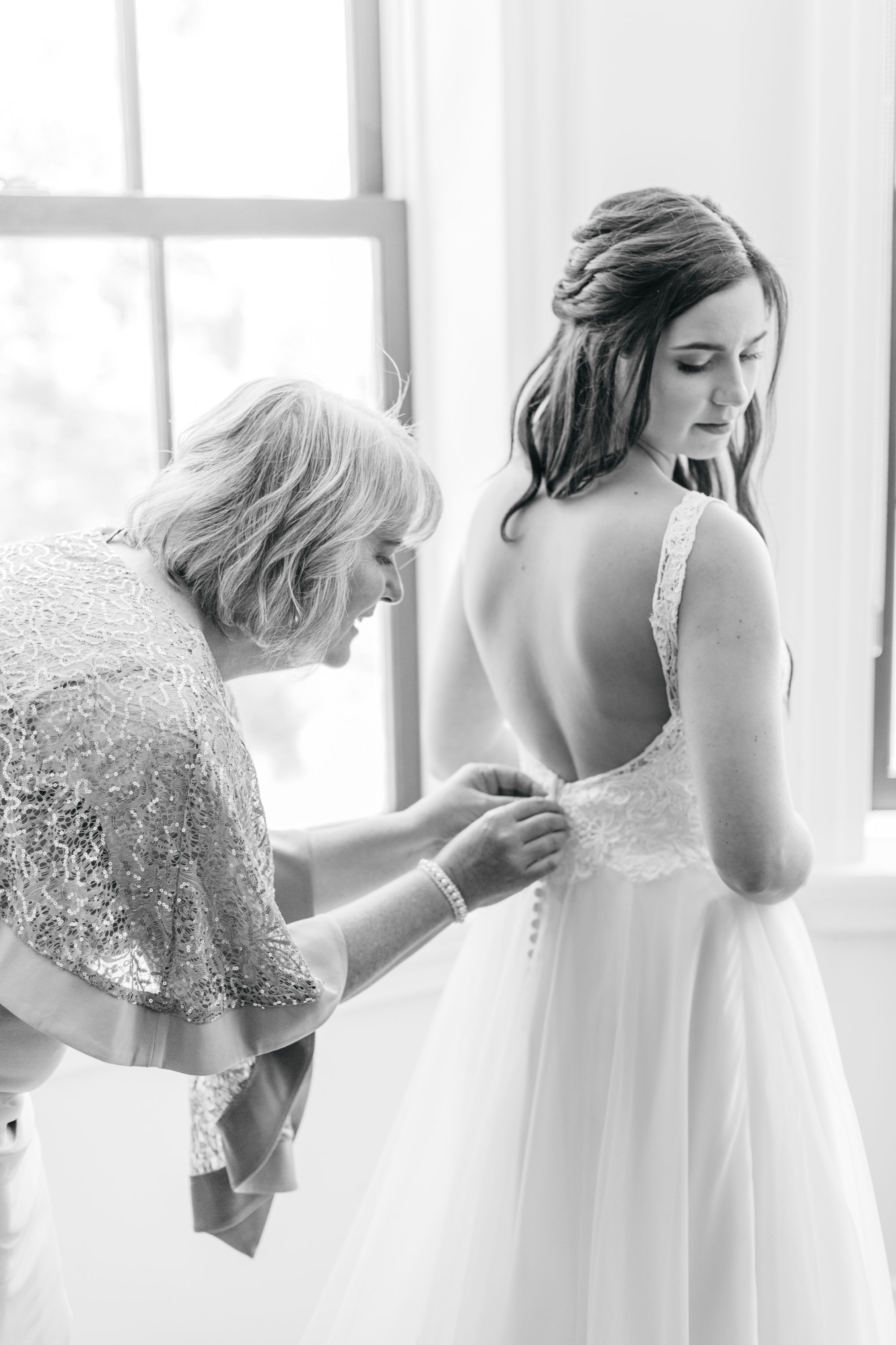 Bride getting ready with mom