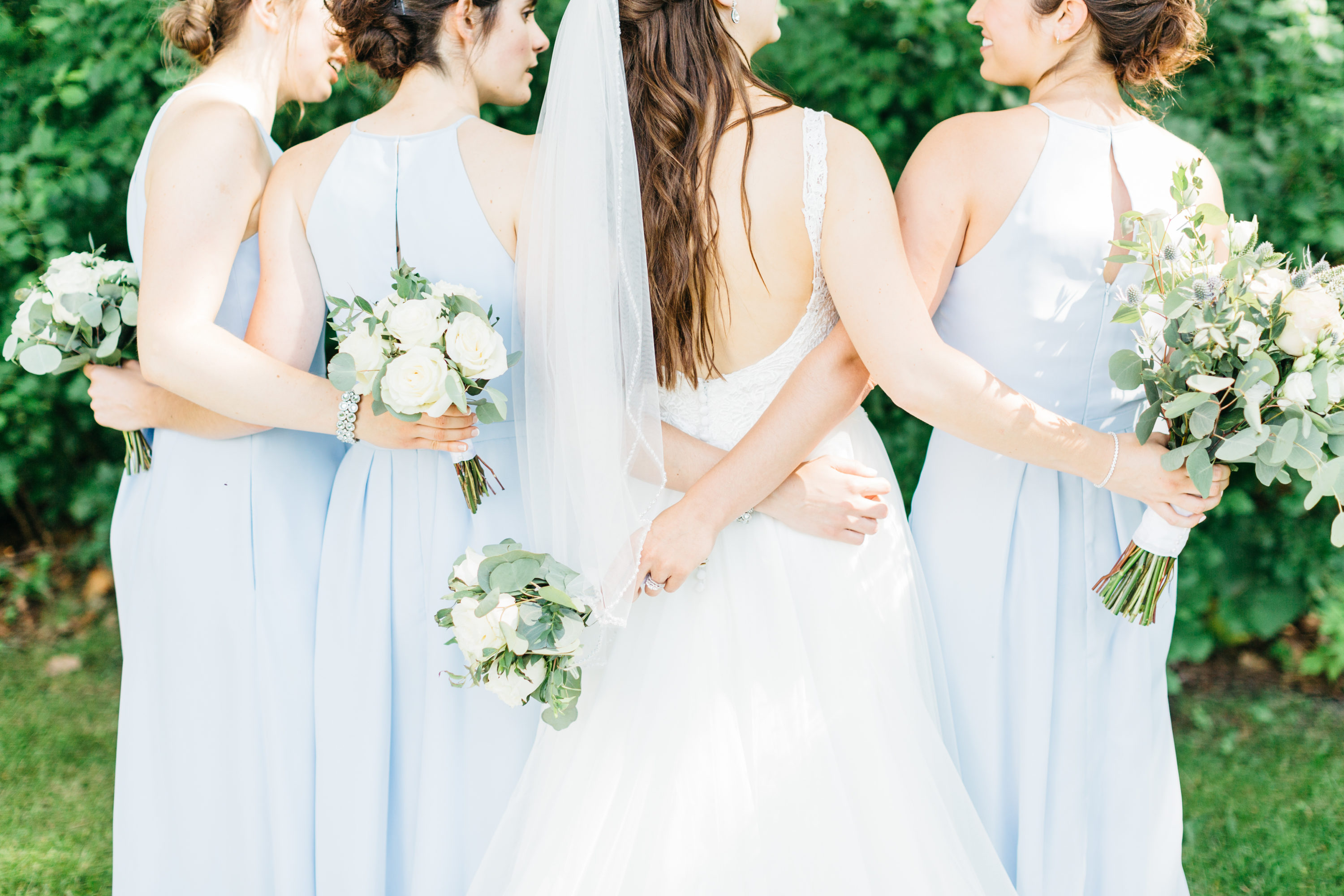 Detail shots of bride with bridesmaids