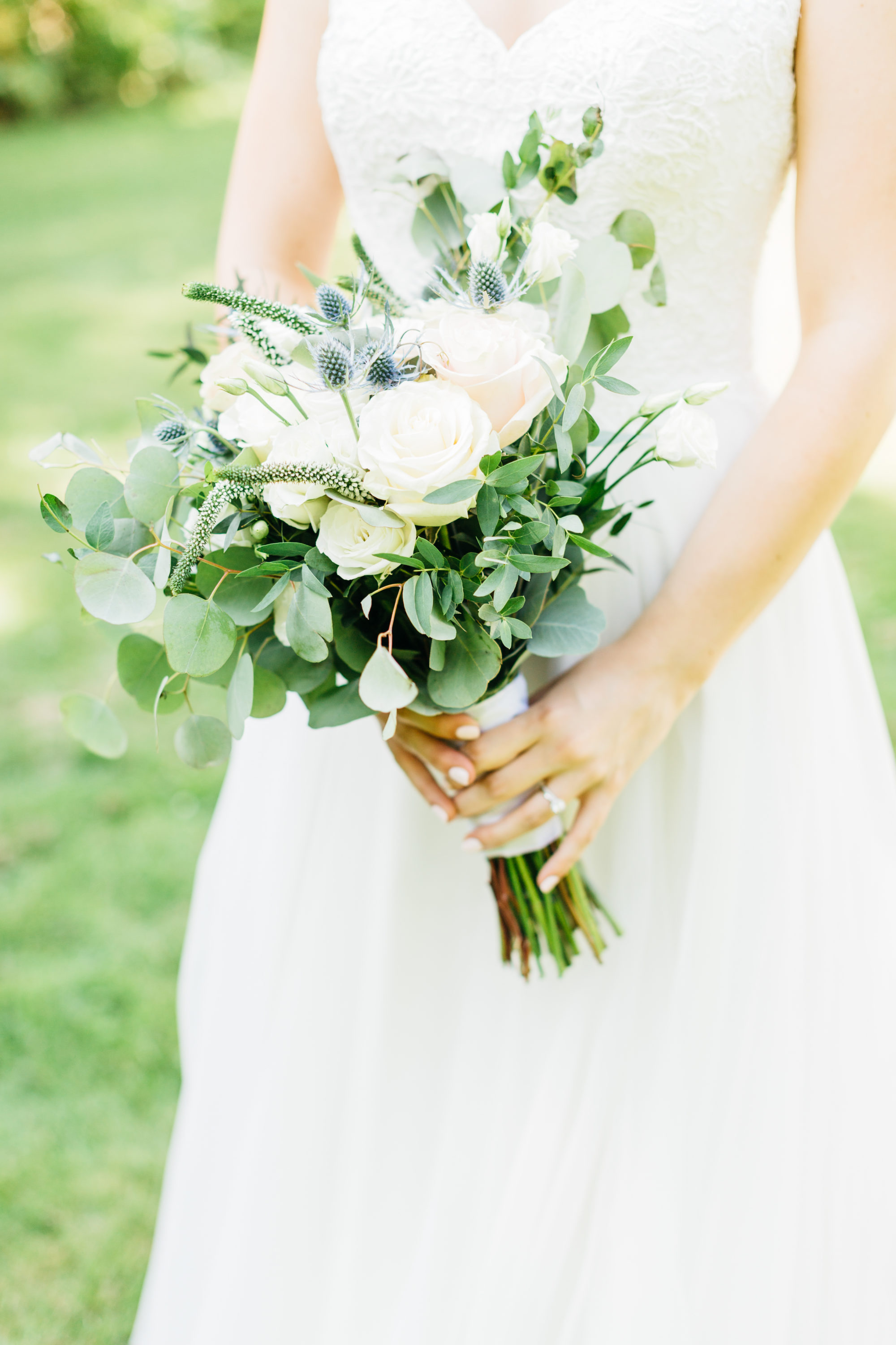 Details of bride's floral bouquet