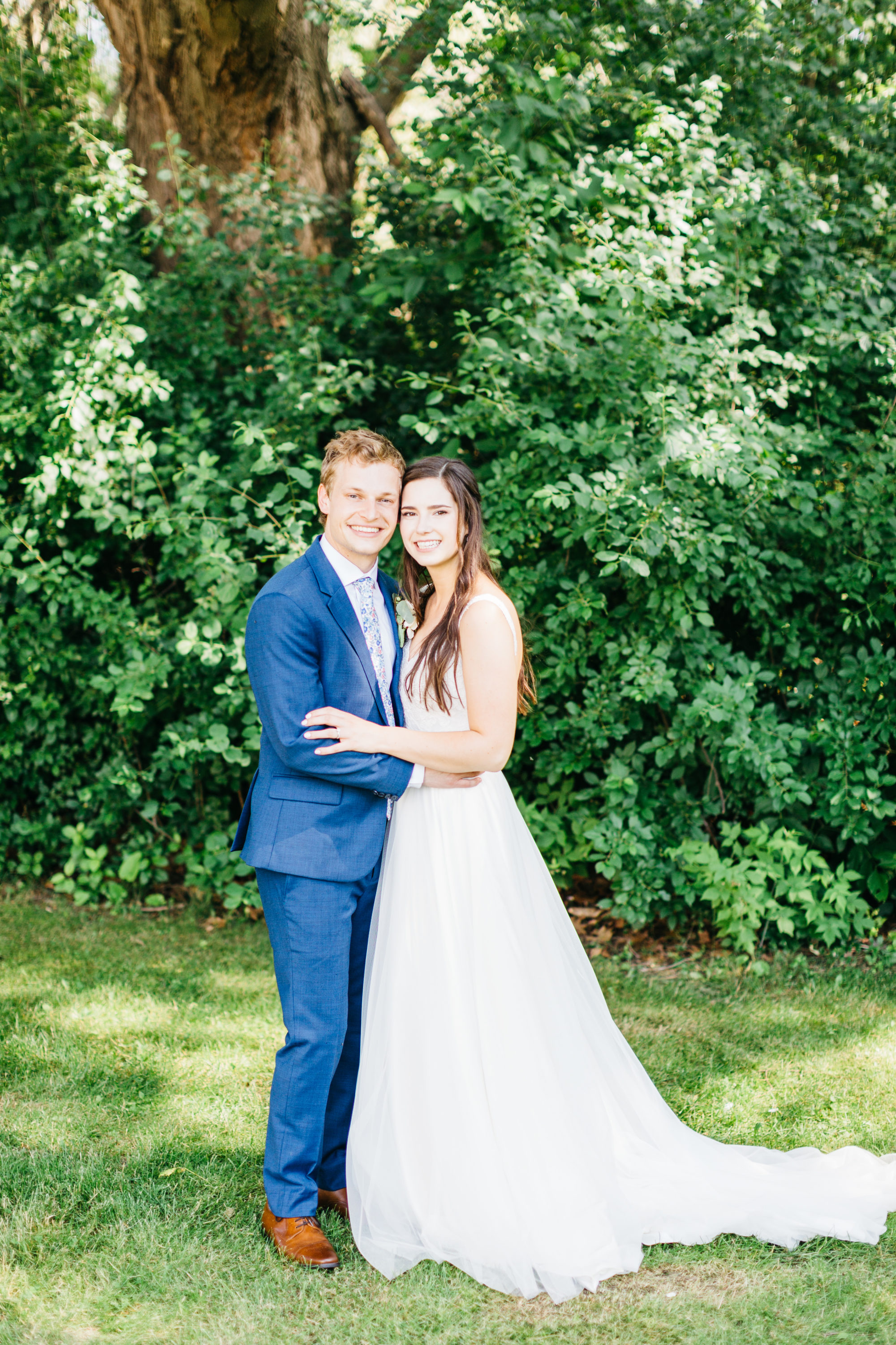 Bride and groom portrait at Harding Waterfront Estate Wedding