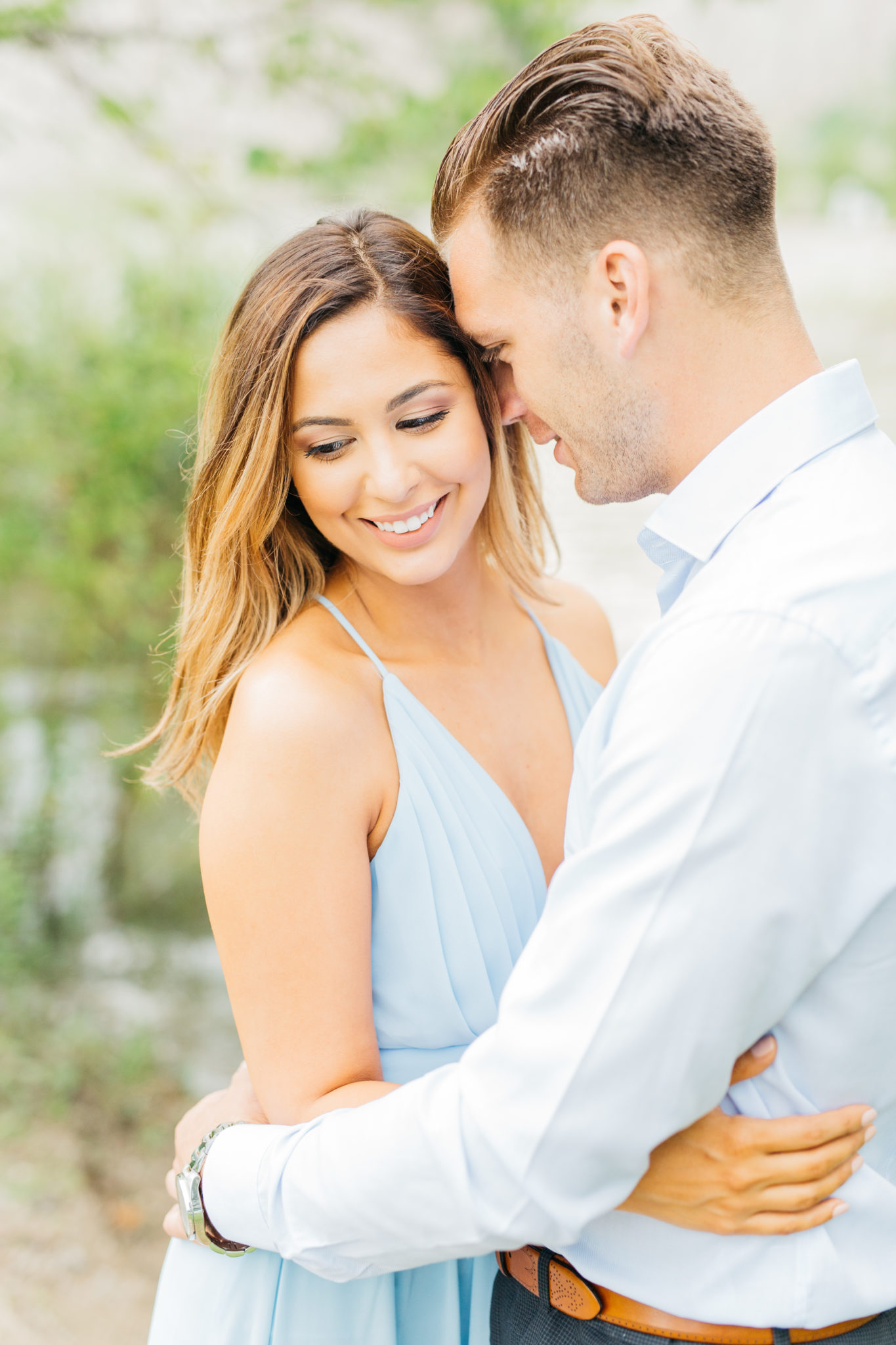 Couple at their engagement session at Scarborough Bluffs