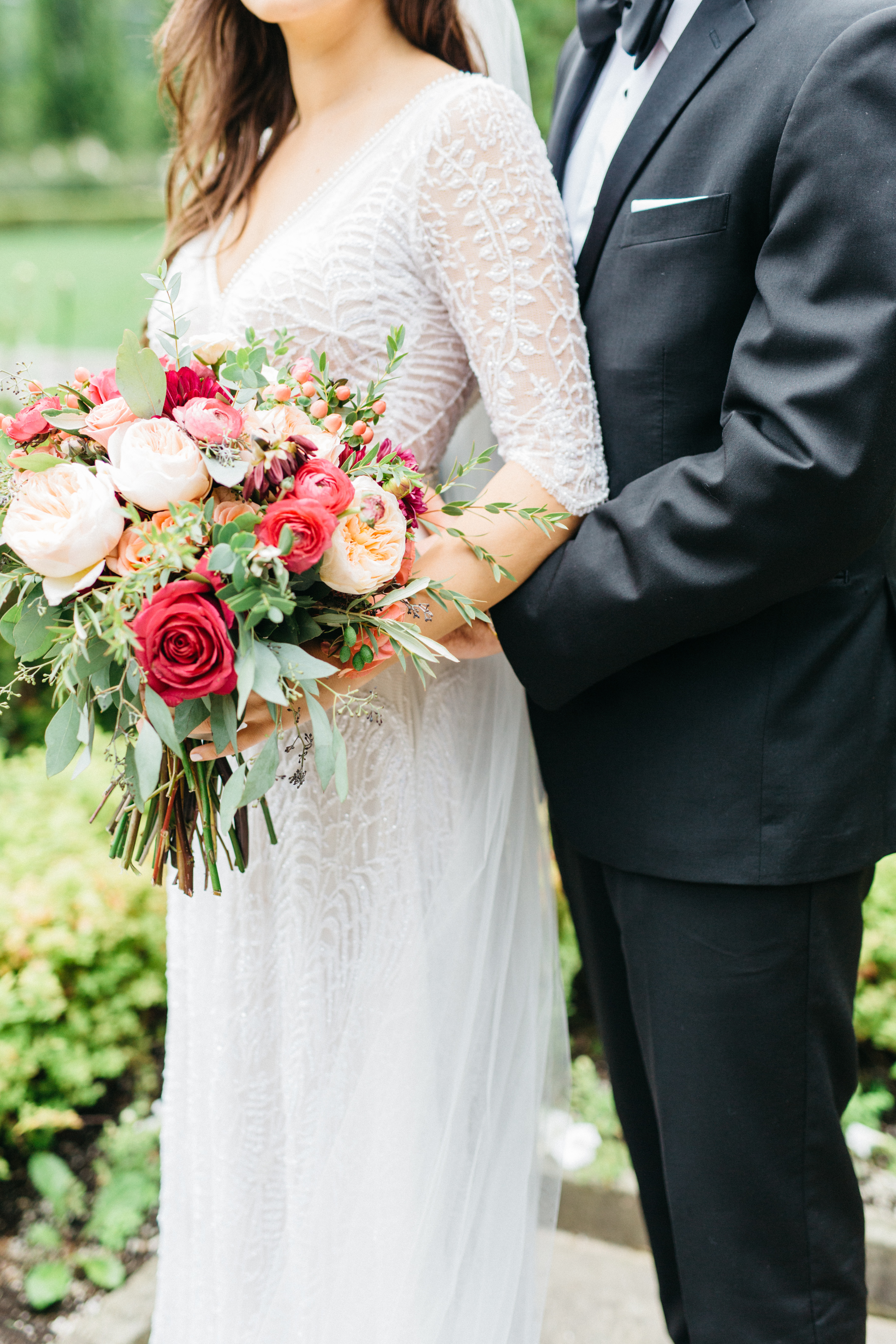 Bride and groom holding each other at Graydon Hall Manor