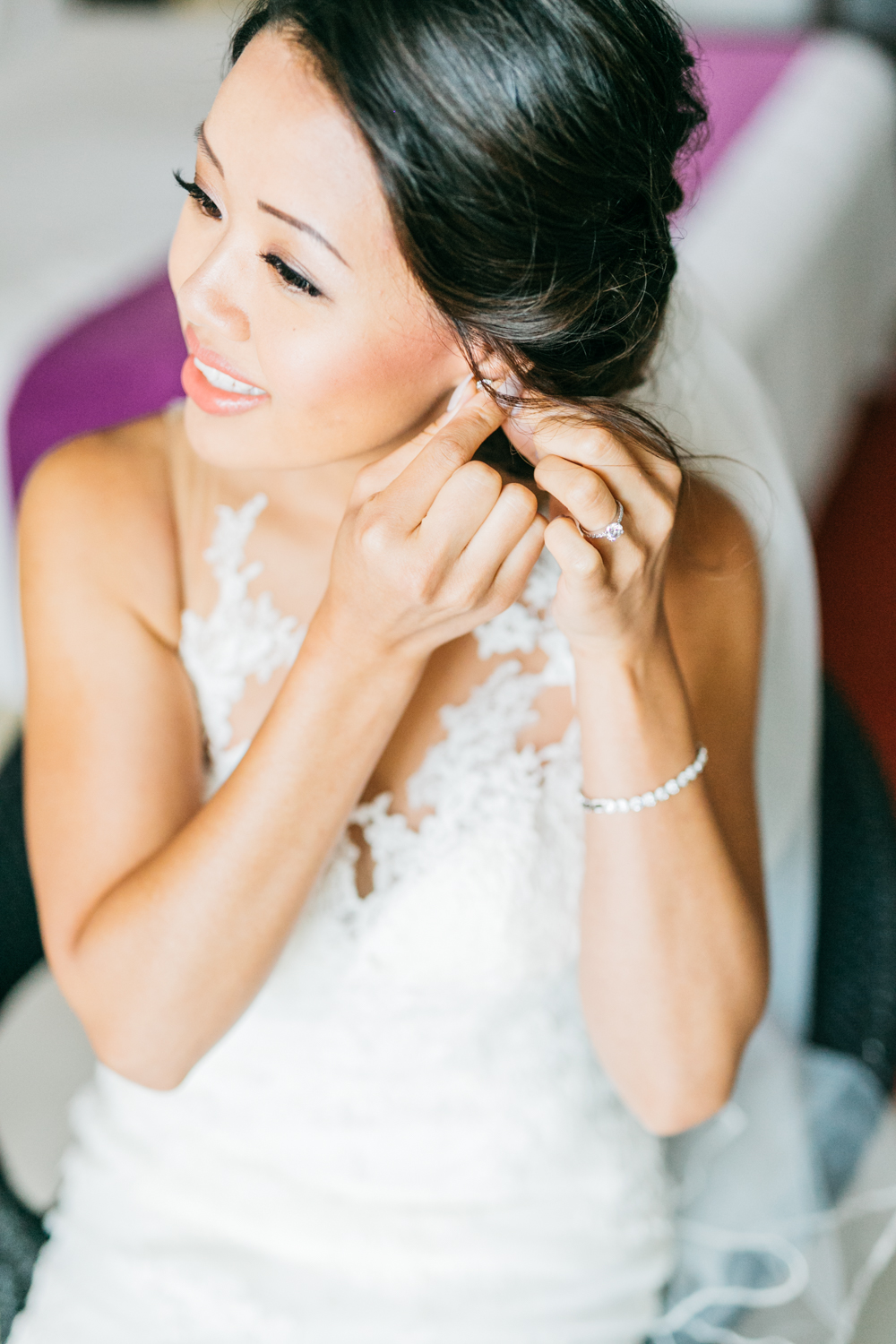Bride getting ready inside suite at Royalton White Sands Resort in Jamaica