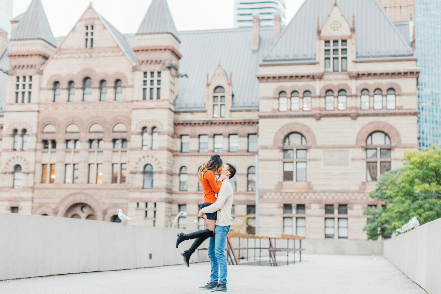 Man picking fiance up at Nathan Phillips Square
