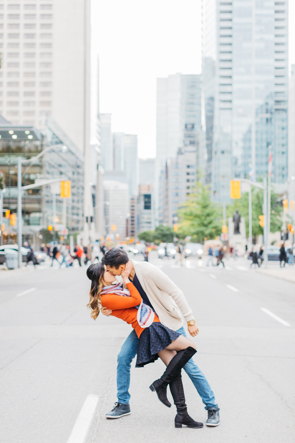 Man dipping fiance in middle of University St in Toronto