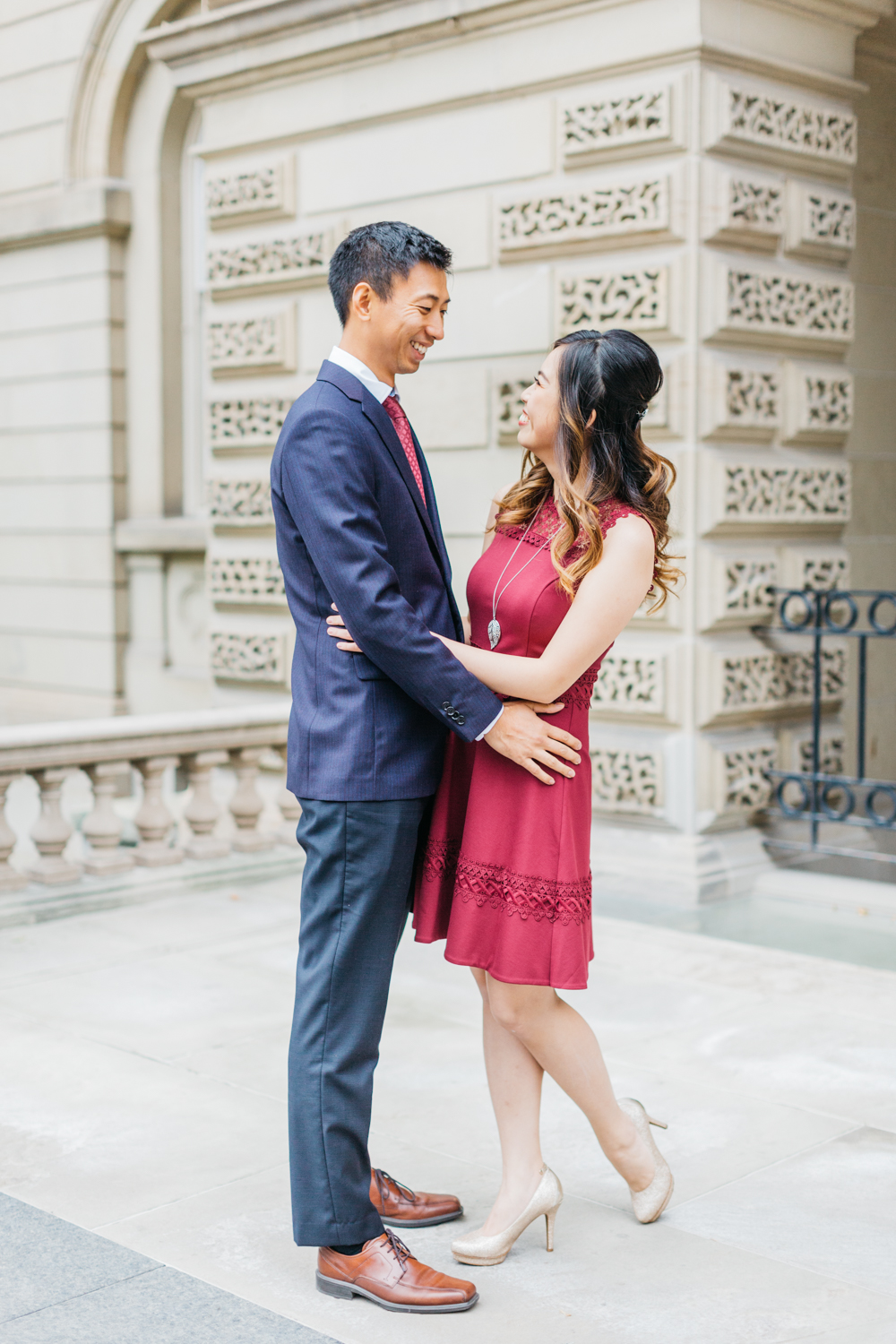 Couple talking at Osgoode Hall Engagement