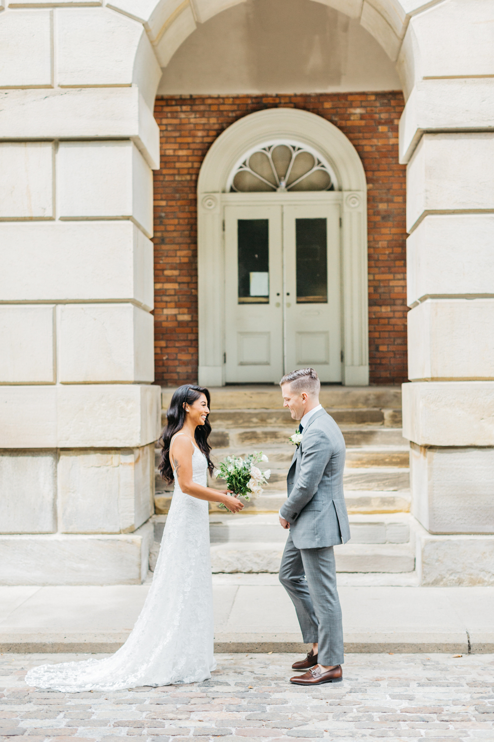 First look with bride and groom at Osgoode hall