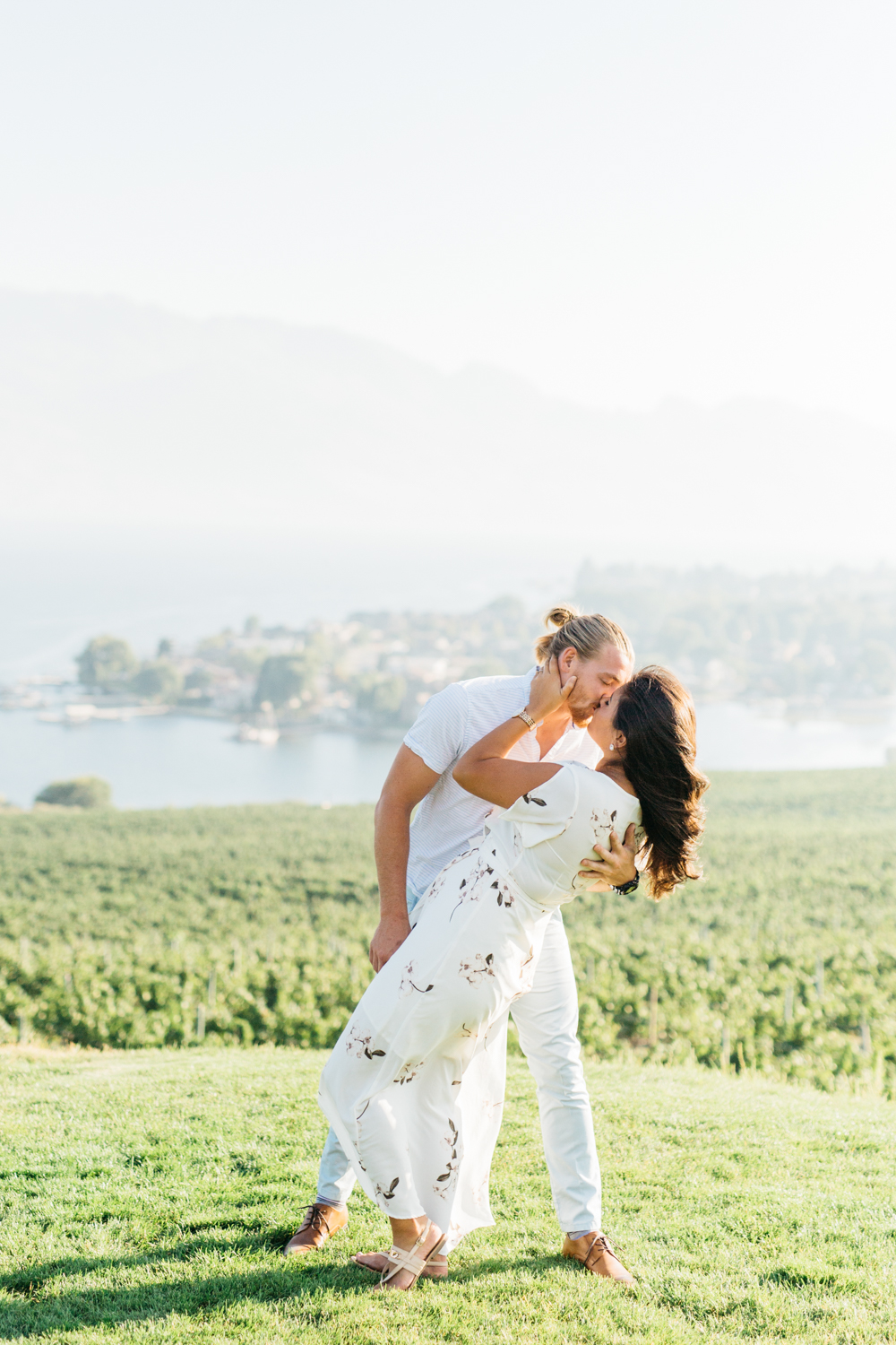 Couple dipping at kissing in Kelowna B.C Quails' Gate Estate & Winery