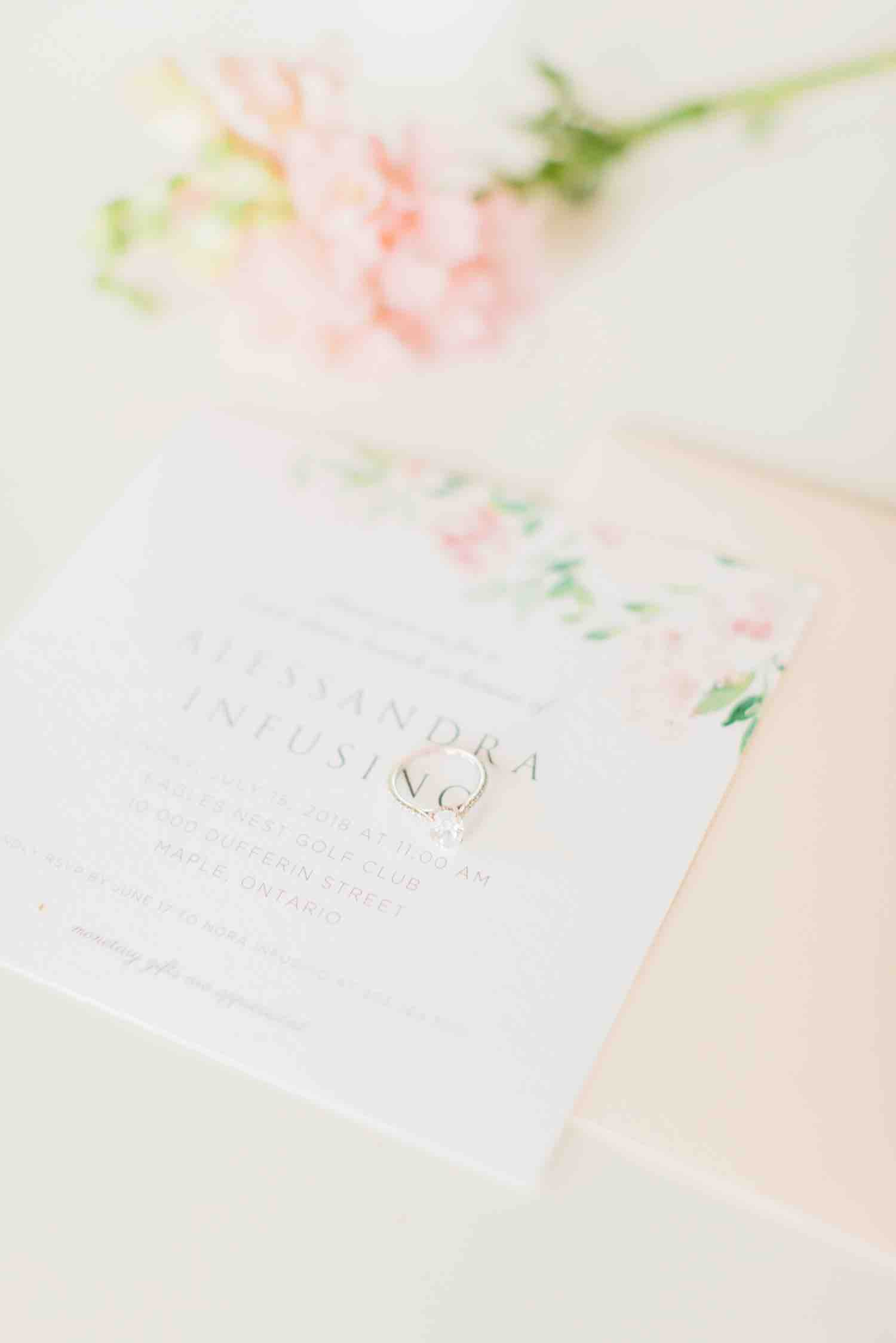 Bridal shower invitation with engagement ring at Eagles Nest Golf Club Bridal Shower