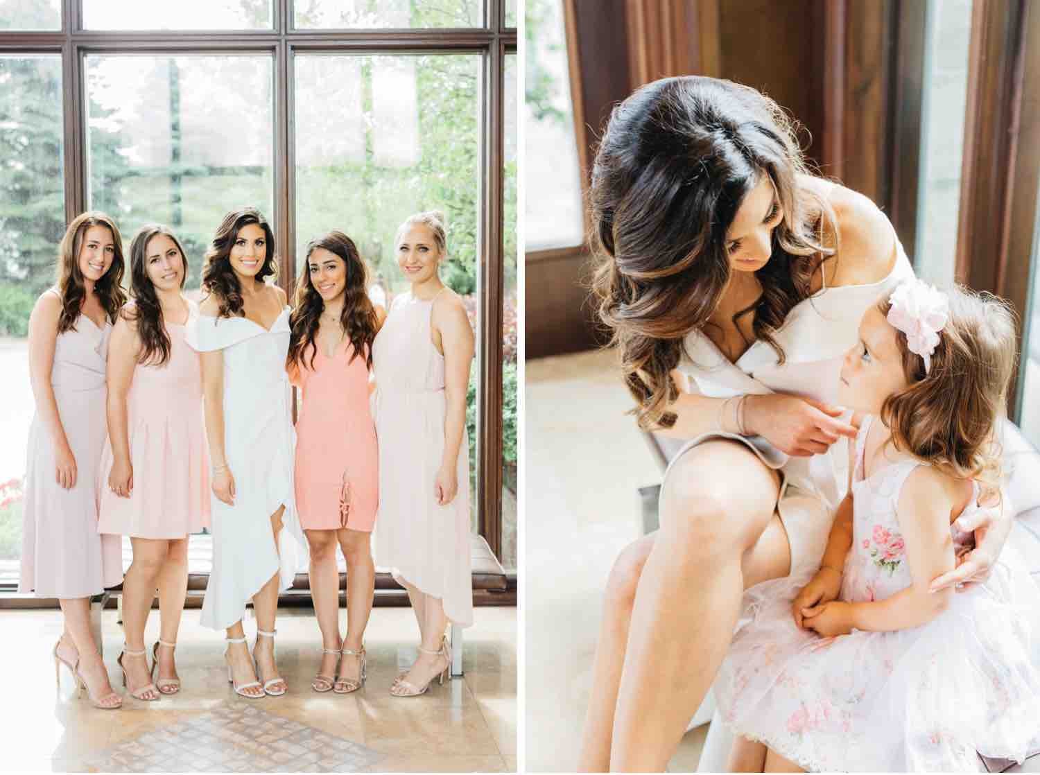 Bride with with bridesmaids and flowergirl at Eagles Nest Golf Club bridal shower