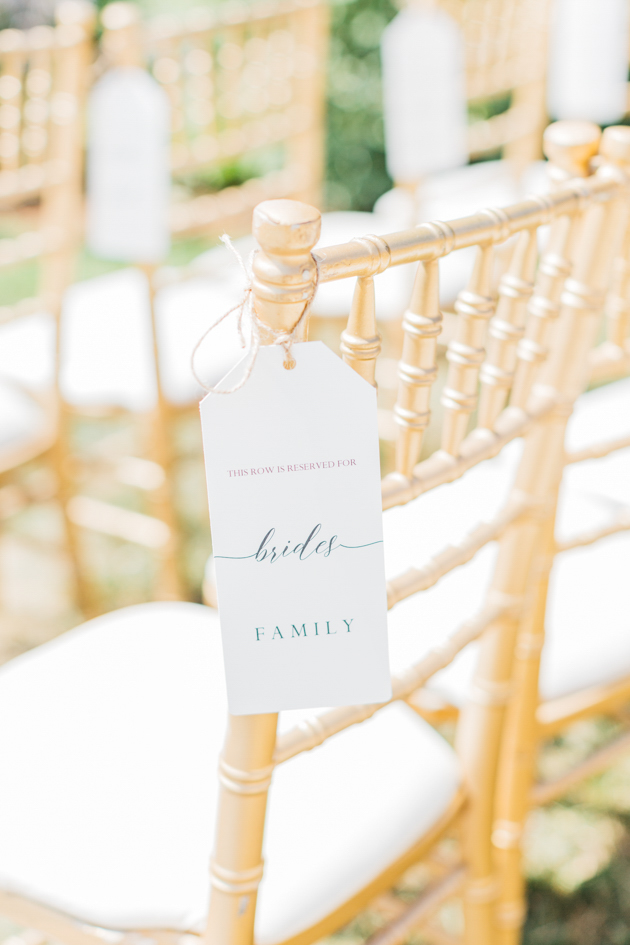 Ceremony chair details