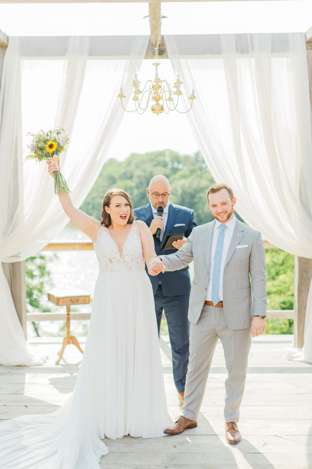 Bride and groom officially married at Stonewall Estates