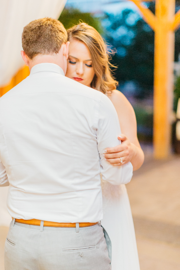 Bride and groom's first dances in barn at Stonewall Estates